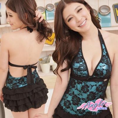 泳衣 夏日玫瑰園 一件式甜美連身泳裝(藍M~XL) AngelHoney天使霓裳