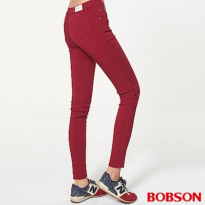 BOBSON 女款高腰彩色強彈力緊身褲(紅13)