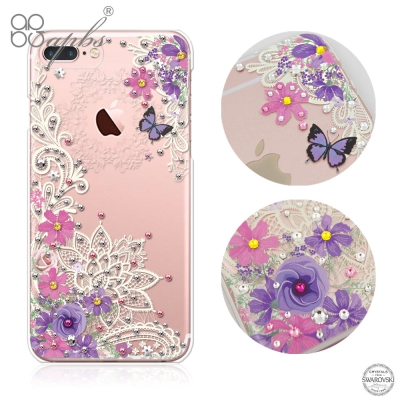 apbs iPhone8/7 Plus 5.5吋施華洛世奇彩鑽手機殼-蕾絲花