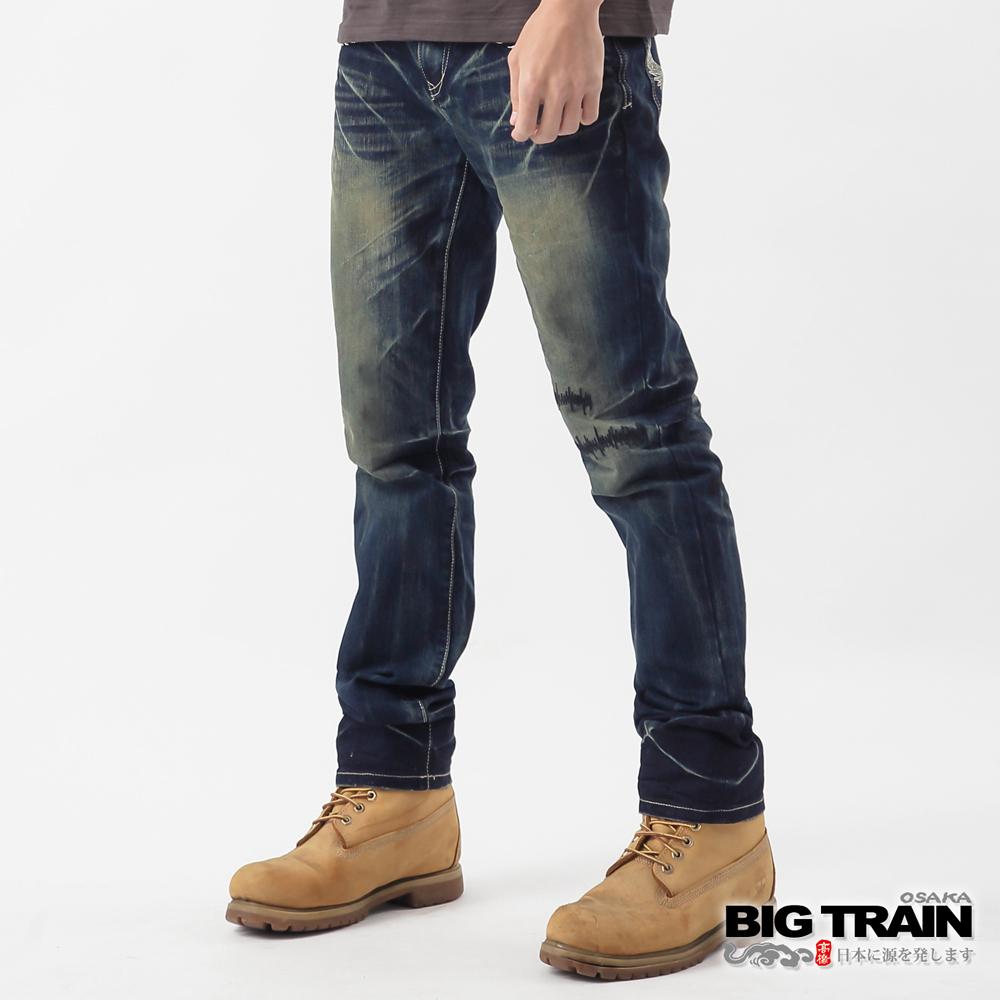 BIG TRAIN-街頭Biker超窄小直筒褲-深藍