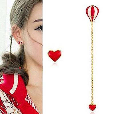 梨花HaNA 無耳洞韓國紅白熱氣球愛心垂墜耳環夾式