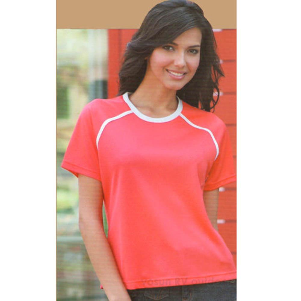 【瑞多仕-RATOPS】女款 Coolmax 圓領短袖休閒衫_DB7474 桔紅 V