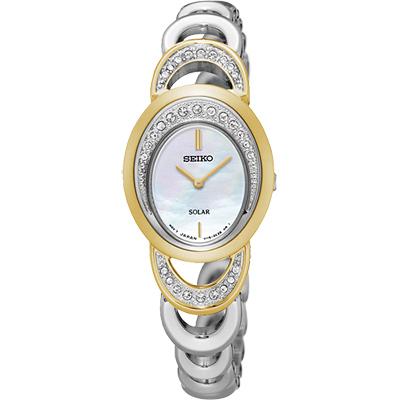 SEIKO SOLAR 施華洛世奇晶鑽手鍊女錶(SUP296P1)-珍珠貝x銀/23mm