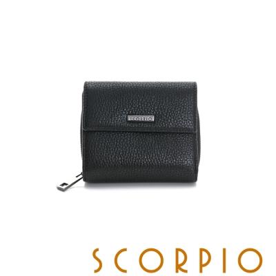 SCORPIO 類真皮超纖系列零錢夾層設計短夾 - 黑色
