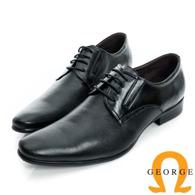 GEORGE-側V切口細格紋面料真皮紳士鞋-黑色