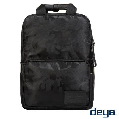後背包-deya都會叢林-暗黑迷彩方背包 多功能隔層收納 13吋筆電可裝