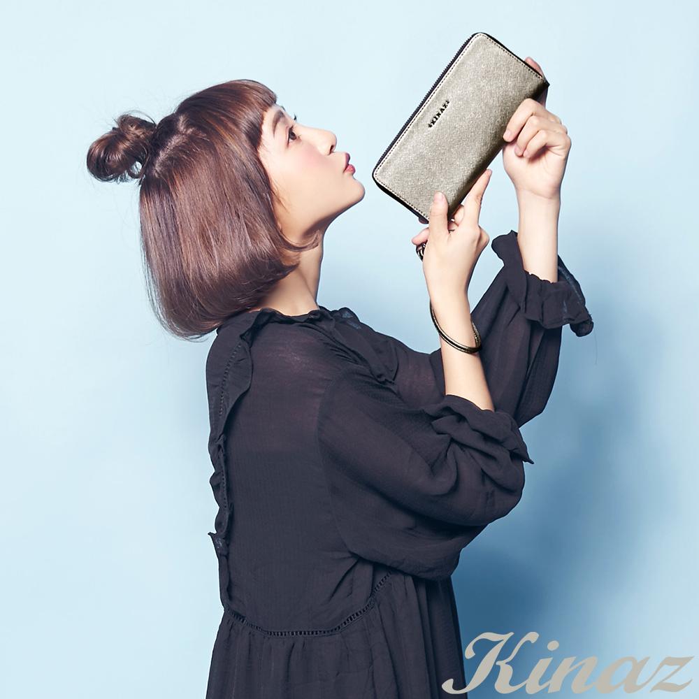 KINAZ 浪漫憧憬真皮ㄇ字型長夾-煙燻灰銀-小星星系列