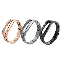 ANTIAN 小米手環2替換腕帶 金屬實心精鋼三珠款