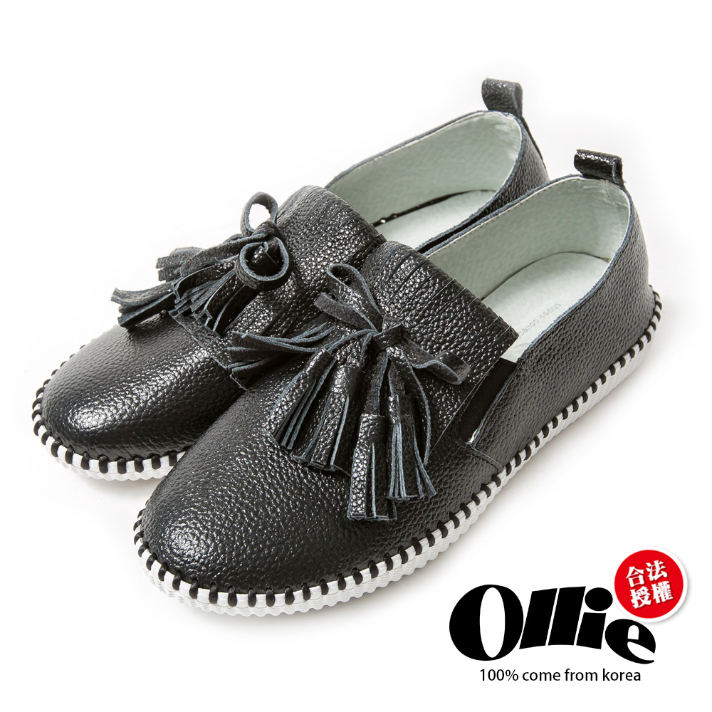 Ollie韓國空運-正韓製真皮流蘇手工縫線懶人鞋-黑
