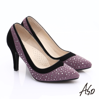 A.S.O 輕透美型 全真皮雙材質水鑽高跟鞋 紫