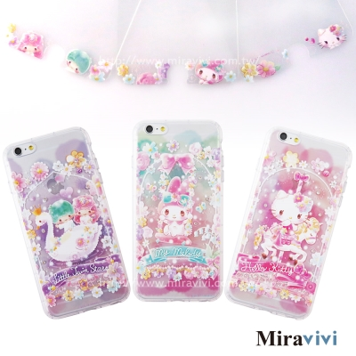 三麗鷗iPhone 6/6s繁花彩繪空壓保護套+玻保組