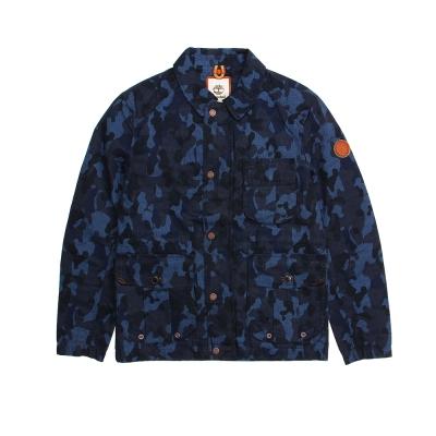 Timberland 男款深藍色迷彩鉚釘扣野戰夾克外套