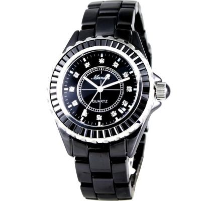 Manka 璀璨之星晶鑽陶瓷腕錶-黑/38mm
