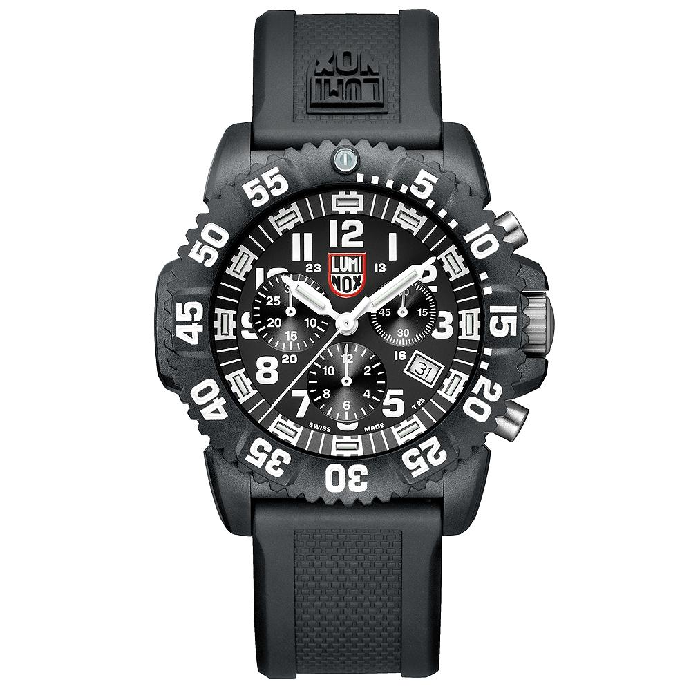 Luminox 海豹部隊計時腕錶-黑x白時標/44mm