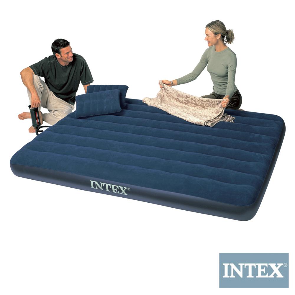 INTEX 雙人加大植絨充氣床墊(寬152cm)-特惠組合(附手壓幫浦 枕頭*2)
