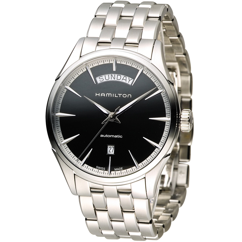 Hamilton 漢米爾頓 Jaazmaster Day/Date 時尚機械錶-黑/42m