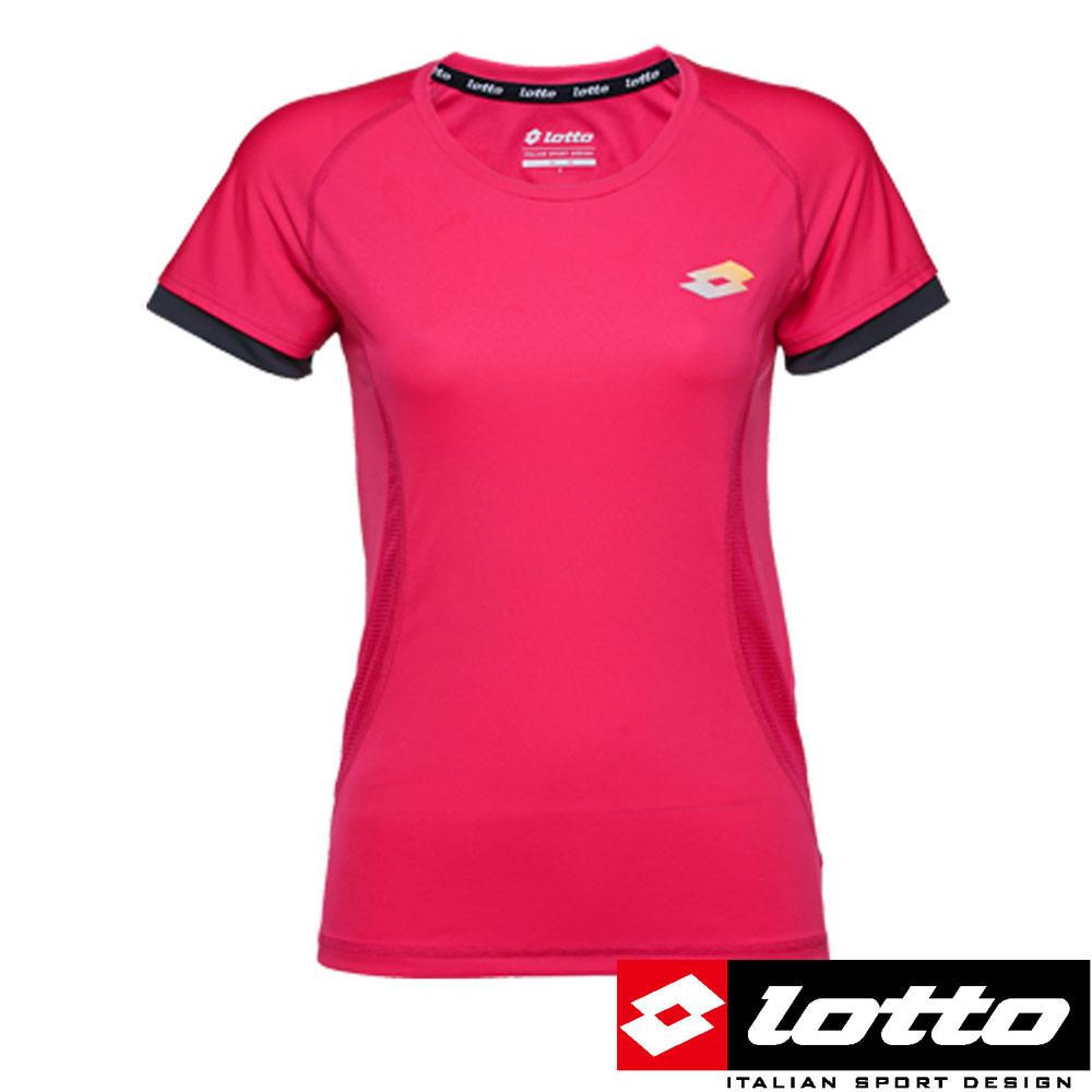 LOTTO義大利女極輕量慢跑T-SHIRT粉紅