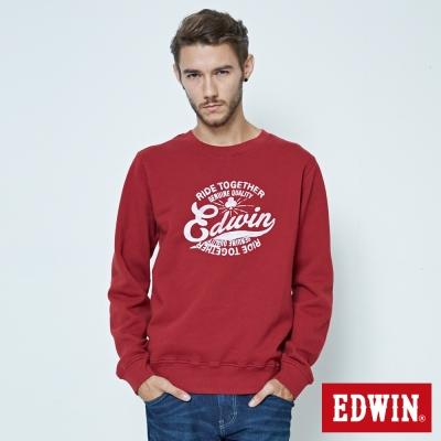EDWIN RIDE TOGETHER暈染印花長袖T恤-男-朱紅