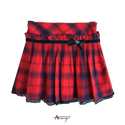 Annys貴族學院經典紅藍格蕾絲壓摺短裙*5258紅