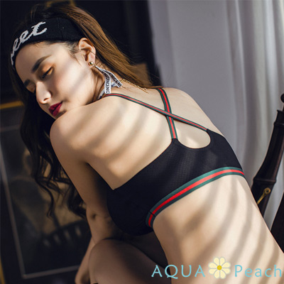 運動內衣 運動織條X型挖背內衣 (黑色)-AQUA Peach