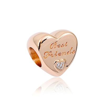Pandora 潘朵拉 友誼之心鑲鋯 玫瑰金 純銀墜飾 串珠