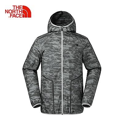 The North Face北面男款灰色印花防潑水休閒防風衣