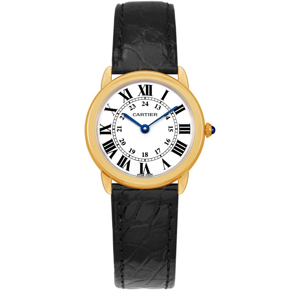 CARTIER RONDE SOLO 經典小型18黃K皮帶腕錶 /29mm