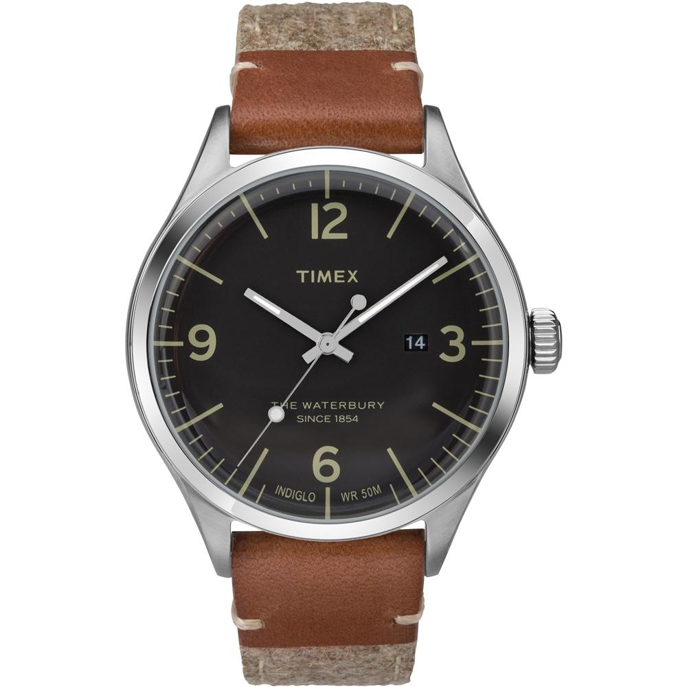 TIMEX 天美時Waterbury系列城市風尚手錶-黑x咖啡x米色/40mm