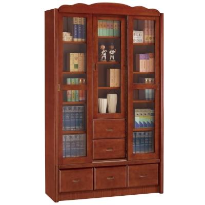 時尚屋 楓原柚木色4尺推門書櫃 寬122cm
