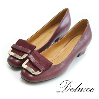 Deluxe-復古小結布面拚金屬方頭低跟包鞋-紅