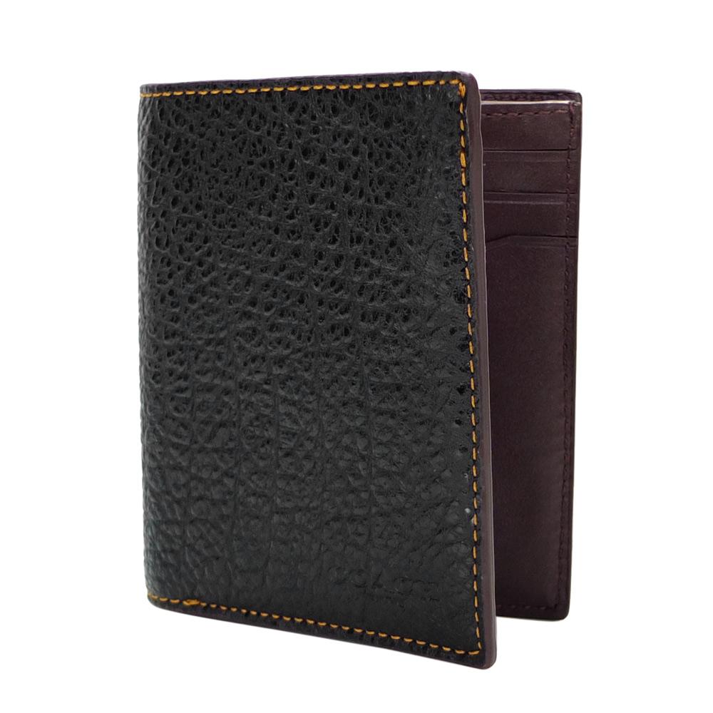 COACH黑色荔枝紋全皮六卡零錢袋雙摺男夾/短夾COACH
