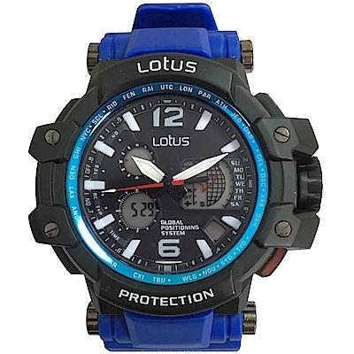 Lotus 飛行錶風格 計時鬧鈴運動錶(LS-1070-05)-藍/50mm