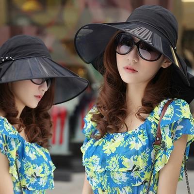 Seoul-Show-抗UV大鏡片防曬護頸遮陽帽3色-黑色