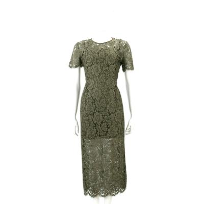 Diane von Furstenberg 墨綠色蕾絲織花短袖洋裝
