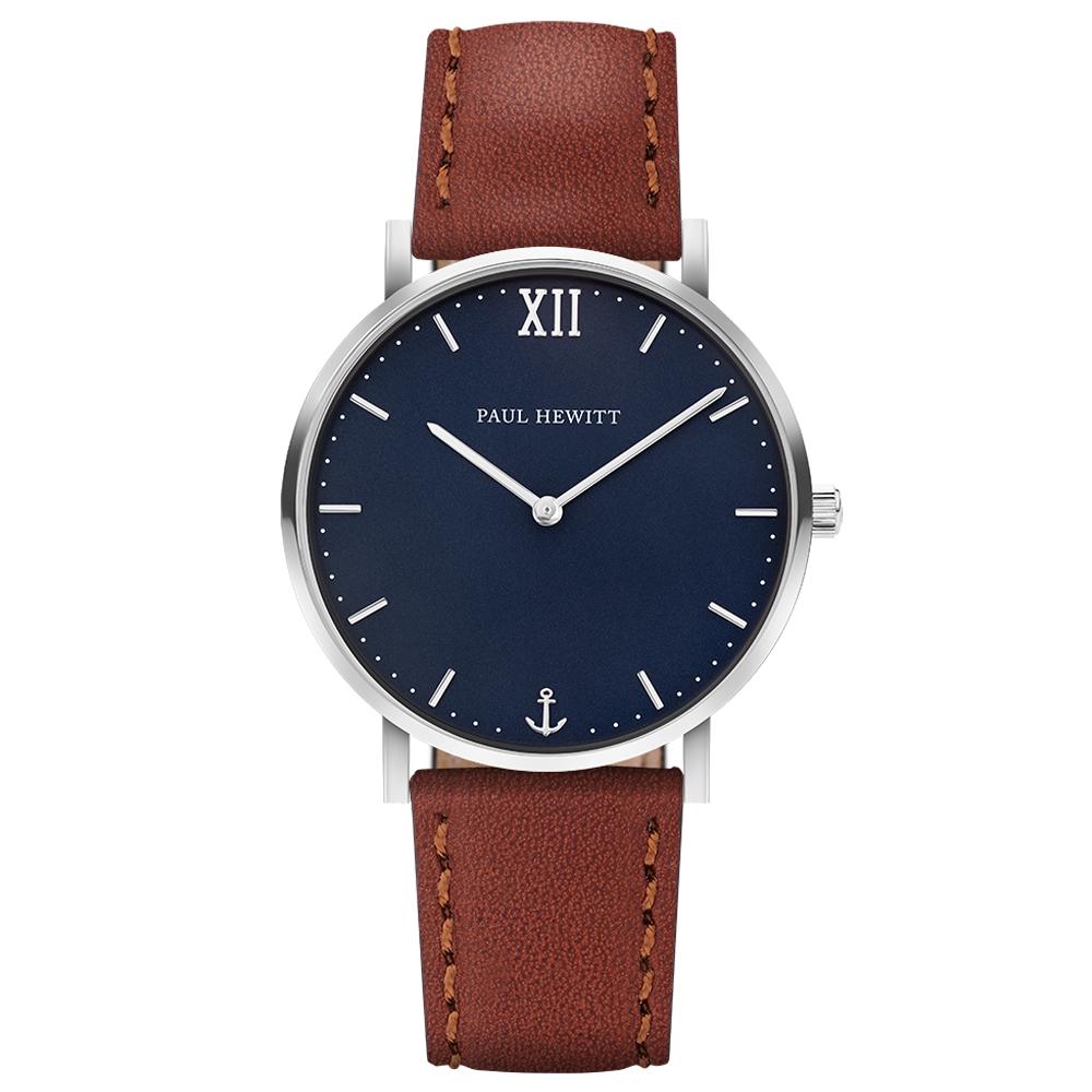 PAUL HEWITT Sailor Line船錨風尚真皮手錶-藍X咖啡/36mm