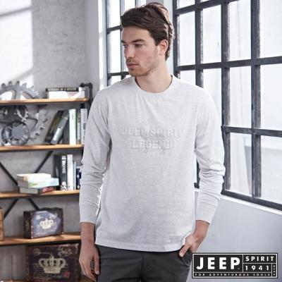 JEEP 純棉馴鹿造型鋼印長袖TEE-灰白