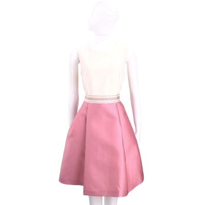 Max Mara 米白x粉色拼接無袖洋裝