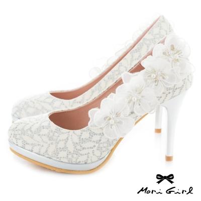 Mori girl 立體紗緞花飾高跟婚鞋 白