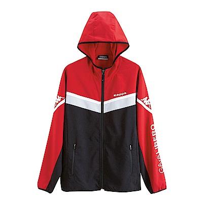 KAPPA義大利時尚型男慢跑單層風衣連帽 黑 大紅 淺灰