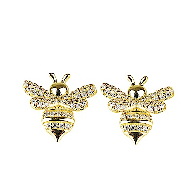 apm MONACO REXY IN WONDERLAND系列晶鑽鑲飾蜜蜂設計純銀耳環-金