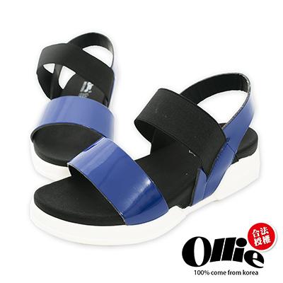 Ollie韓國空運-正韓製亮面漆皮撞色厚底涼鞋-藍