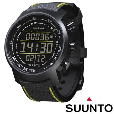 【Suunto Elementum】TERRA 登山釣魚計時錶/黑底黃紋皮質錶帶限量款