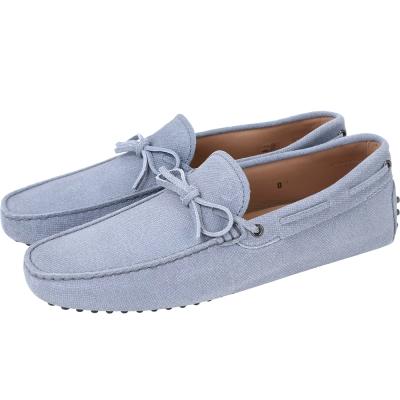 TOD'S Gommino Driving 牛皮綁帶豆豆休閒鞋(男鞋/水洗藍)