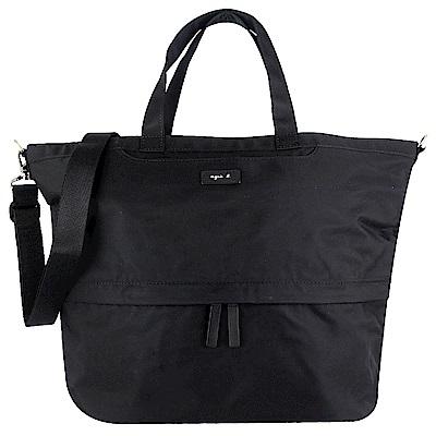 agnes b. VOYAGE 黑色尼龍梯形兩用斜背/手提包