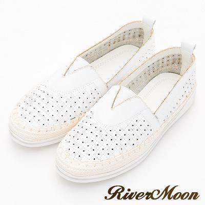 River&Moon大尺碼-方格洞洞V口麻編休閒懶人鞋-白