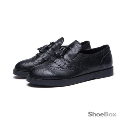 鞋櫃ShoeBox 牛津鞋-金屬仿舊刷色流蘇平底鞋1016404424-黑