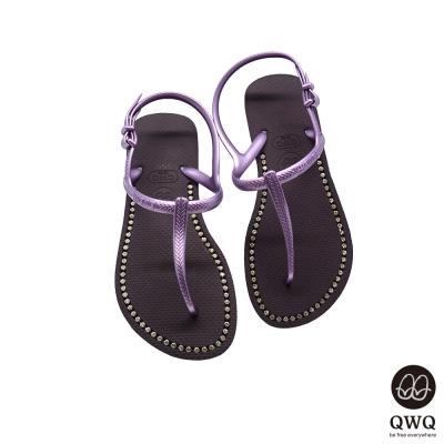 QWQ夾拖的創意(女) -璀璨面鑽涼鞋-神秘紫