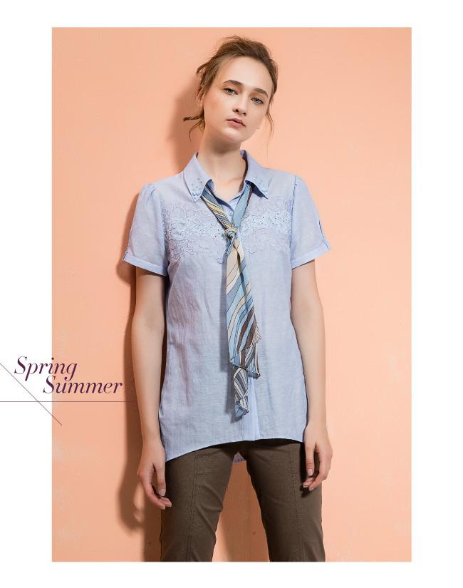 ILEY伊蕾 輕薄棉質造型領巾配色上衣(粉/藍/綠)