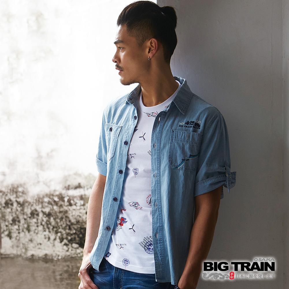 BIG TRAIN 淺色水洗牛仔五分袖襯衫-男-淺藍