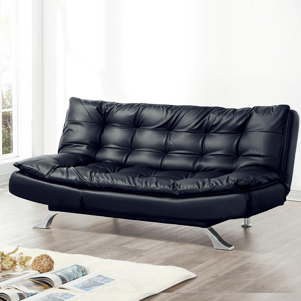 Boden-卡德黑色皮沙發床
